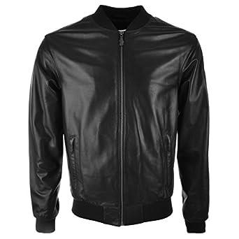 7bfd2d19228 Hommes Versace Jeans Cuir Bomber Veste Noir - Large  Amazon.fr ...