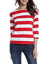 Womens 3/4 Sleeve Round Neck Casual Stripes T-Shirt