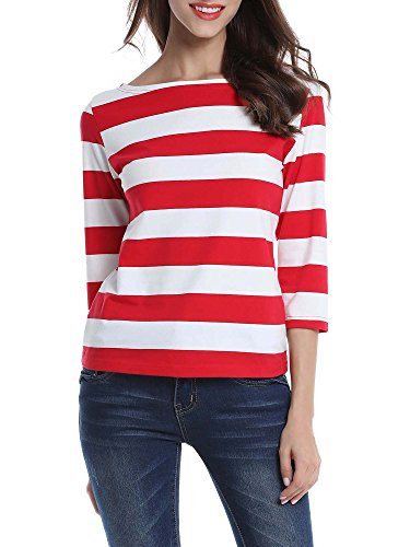 FENSACE Womens 3/4 Where's Waldo Halloween Costume Stripes T-Shirt