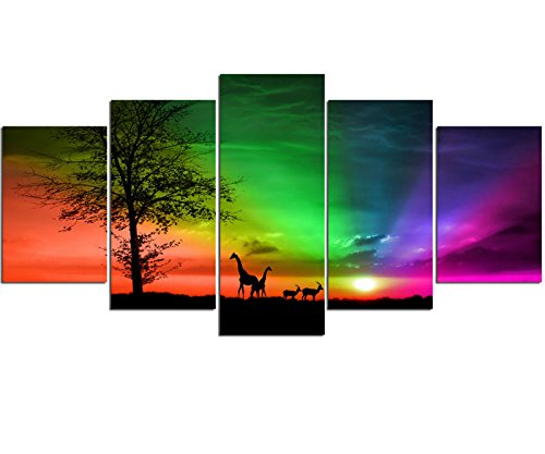 african wall art sz colourful sunset and grassland canvas prints for bedroom 5 piece framed giraffes and antelopes pictures wall decorations