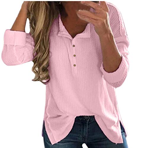 (Women Basic Henley Shirt Long Sleeve Solid Ribbed Sweater Pullover Knitted Tops(Pink,X-Large)