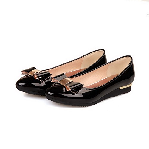 AmoonyFashion Womens Closed Pointed Toe Low Heel Square Heels PU Solid Pumps with Bowknot and Metal Black lpUyo7Kll