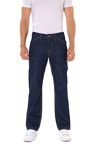 - Indigo alpha Carpenter Dark Navy Blue Denim Work Jeans(8020,W34/L32)