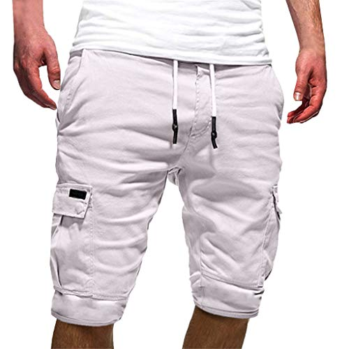 TANGSen Fashion Men's Sport Pure Color Pant Bandage Pocket Casual Loose Sweatpants Drawstring Short Long Pant White