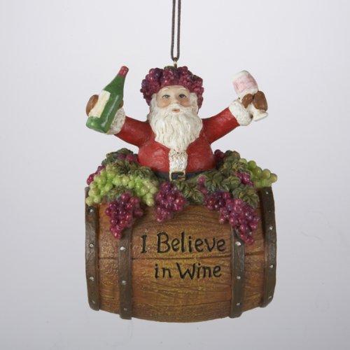 Kurt Adler 4-Inch Polyresin Santa on Wine Barrel Ornament (World Ornaments Market Christmas)