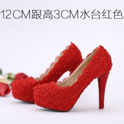 Heel Shoes Pink Lace Shoes 12Cm Wedding High Flowers Pearl Round Heeled Red VIVIOO Waterproof Shoes Color Women'S White 5 Sandals 5 Red Prom Bridal Toe YOnpwxq471