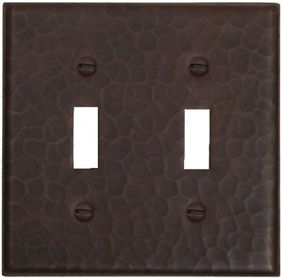 Hammered Copper Double Toggle Switchplate Switch Receptacle Cover-LSC401 by Hammermarc