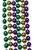 Bulk Mardi Gras Beads 33in 7mm in Purple, Green, Gold 60 dozen (720) necklaces