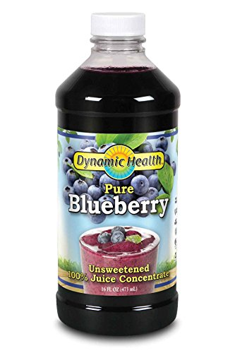 Dynamic Health 473ml 100 Percent Pure Blueberry Juice Concentrate, 16 Fluid Ounce Pure Juice