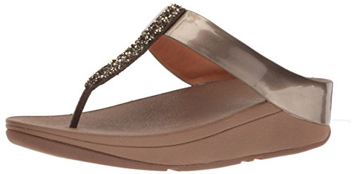 7f73c0578f94ba FitFlop Womens Fino Toe-Post Bronze Synthetic Sandals 10 US