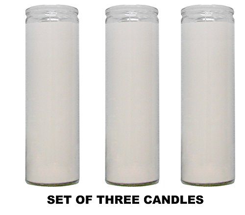 1 X Clear Glass White Paraffin Wax Candles 3 Pack / Clear Glass White Wax Candles Novena Vigil Candles 3 Pack -
