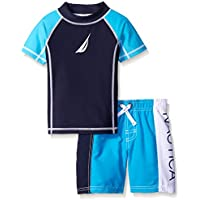 Nautica Boys' Little Rashguard Set with UPF 50+ Sun Protection