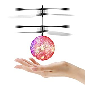 Flying Ball, YKS Children Flying Toys, RC infrared Induction Helicopter Ball Built-in Shinning Color Changing LED Lighting for Kids, Teenagers (Red)