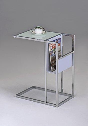 Kings Brand Printed Glass & Chrome Accent Snack Table with Magazine Rack (Chrome Metal Magazine Rack)