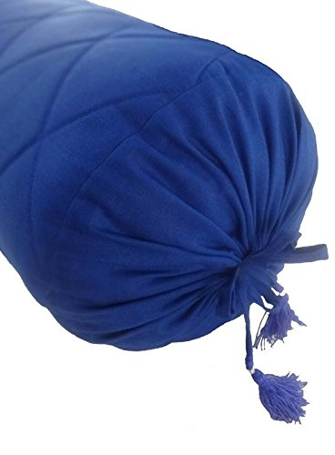 Saffron QuiltedBolster Pillowcase Decorative Neckroll Bolster Round Pillow Cover 6 Inch Diameter x 28 Inch Long (15 cm Diameter x 70 cm length) Blue Removable COVER