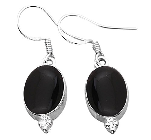 Onyx Oval Black Earrings (12.00ctw, Genuine Black Onyx & 925 Silver Plated Dangle Earrings Made By Sterling Silver Jewelry)