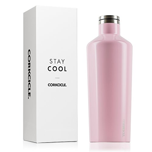 Corkcicle Canteen Classic Collection Water Bottle & Stainless Steel Thermos Triple Insulated Shatterproof, 60 oz, Gloss Rose Quartz
