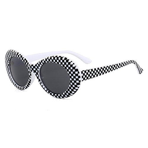 Armear Checkered Clout Goggles Oval Mod Retro 80s Sunglasses Unisex Oversized Plastic Frame Eyewear (Checkered, 51)