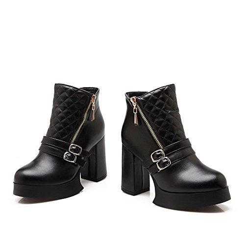 Spitze Blend Niedrig Hoher Zehe AgooLar Stiefel Schwarz Absatz Rein Damen Materialien Rund OqTYw05
