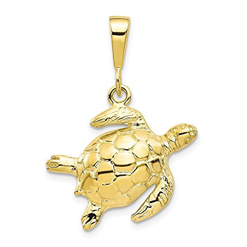 10k Yellow Gold Turtle Pendant Charm Necklace Sea Life Fine Jewelry Gifts For Women For Her (Tiffany Dresses Blue Dog)