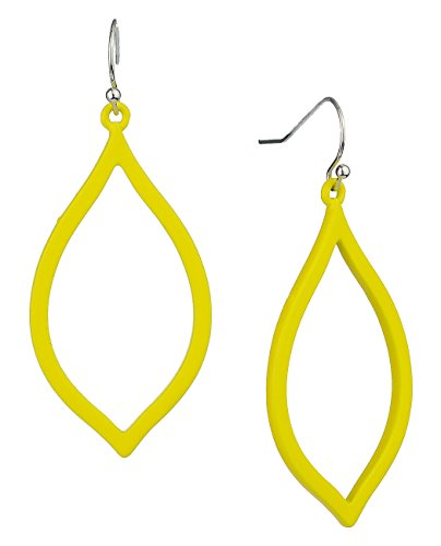 Women's Dangling Hollow Leaf Fish Hook Pierced Earrings, Yellow (Fish Earring Yellow)