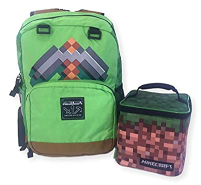 Minecraft Kids Full Size 17 inch Green Pickaxe Backpack Lunch Bag