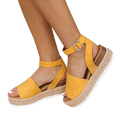 LAICIGO Women's Flatform Espadrilles Ankle Strap Buckle Open Toe Faux Leather Studded Wedge Summer Sandals (8 B(M) US, 1-Yellow)