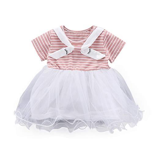 MOGOV Baby Girl Summer Casual Short Sleeve Striped Printed Tutu Tulle Princess Dress Clothing -