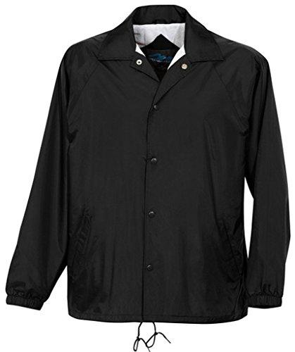 htweight Coach Jacket, Black, Tall 5XL (Nylon Flannel Coaches Jacket)