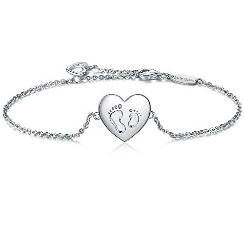 Essie Odila 18K White Gold Plated Sterling Silver Heart Adjustable Bracelet for Womens Sisters Friends Mother (White Gold, Baby Footprint)