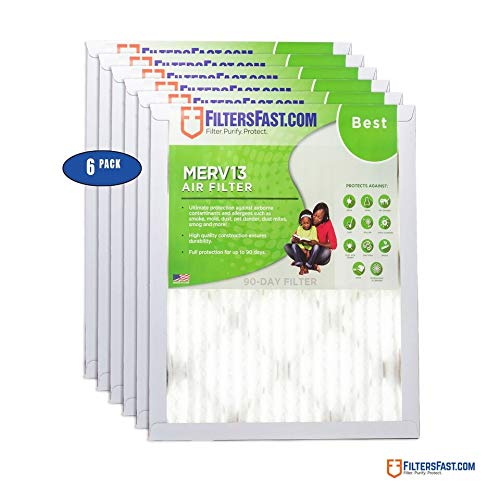 "16"" x 32"" x 1"" (Actual Size: 15.75"" x 31.75"" x 0.75"") 1"" Pleated Air Filter MERV 13-6-Pack by Filters Fast"