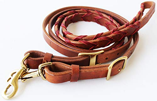 (CHALLENGER Amish USA Made Harness Leather Roping Horse Barrel Contest Reins Tack 66RT10LT)