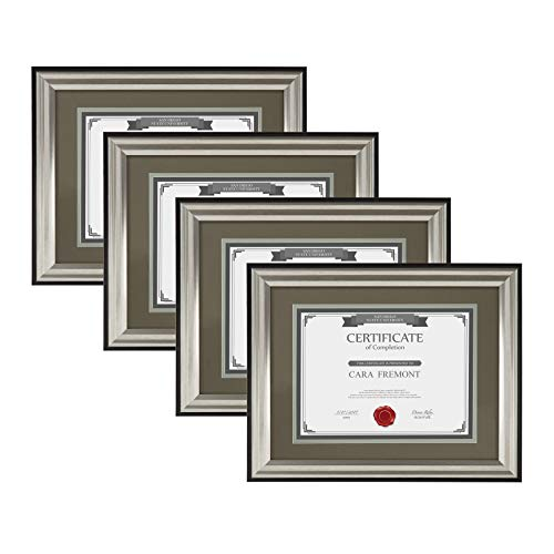 (DesignOvation Watson 4-Pack Classic Document Frame Set Wall Display, 11x14 matted to 8.5x11, Charcoal and Silver Two-Tone Finish)