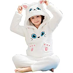 Pijamas dos Piezas Pijamas niñas Terciopelo Coral Pijamas Ropa de Abrigo de Invierno Servicio a Domicilio Madre e Hija se adaptan Gato Blanco Pijamas y Batas (Color : Blanco, Size : 100cm)