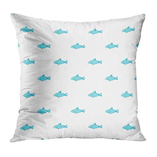 Menmek Throw Pillow Cover Decorative Fish Pattern Cartoon Illustration Fish Hidden Zipper Car Sofa Meeting Room Home Decor Cushion Cover Pillowcase 16 x 16 Inch]()