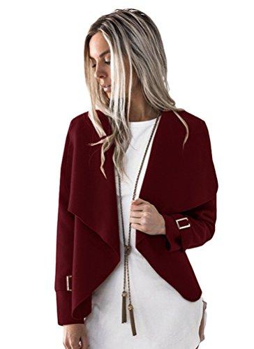 Sentao Autunno Outwear Lunga Manica Casual Tops Donna Vino Cappotto Corto Giacca Inverno Rosso rxraIB