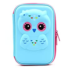 JUJIN Cute Owl Face Hardtop EVA Pencil Case Big Pencil Box With Compartment For Kids (Light Blue)