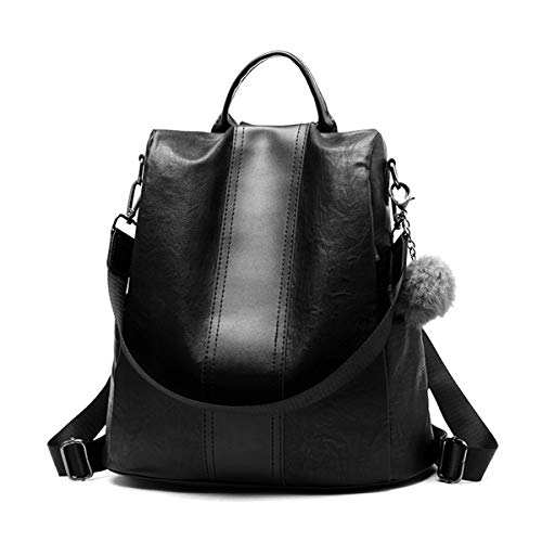 School theft Casual Black Backpack Bags Waterproof Purse Travel Bags Pu Finwel Anti Convertible Shoulder Backpack Women fqBP1AwA