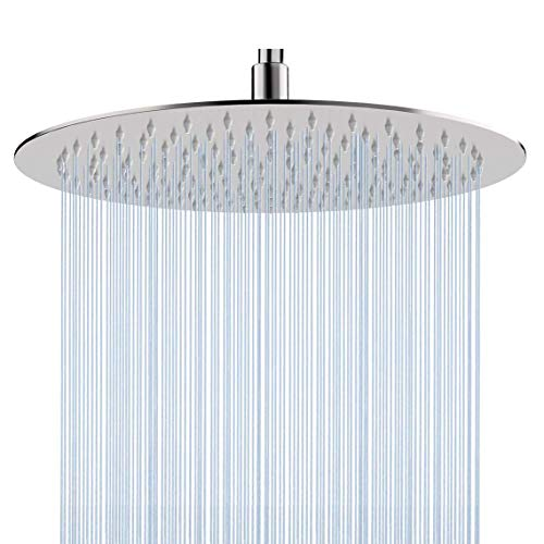 Rain Shower Head 12 Inch High Pressure,Adjustable Joint Rainfall Showerhead with Self-Cleaning - Self Mirrors Cleaning Bathroom