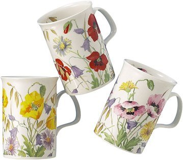 Roy Kirkham English Meadow Set Of Three Assorted Mugs Bone China Tea Mug