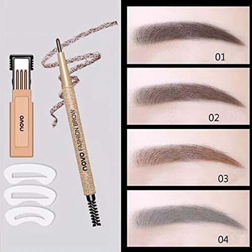 3D Waterproof Eyebrow Pencil, Waterproof Sweat-proof Smudge-proof Long Lasting Eyebrow Pencil Brow with Brush for Girls (Light brown)