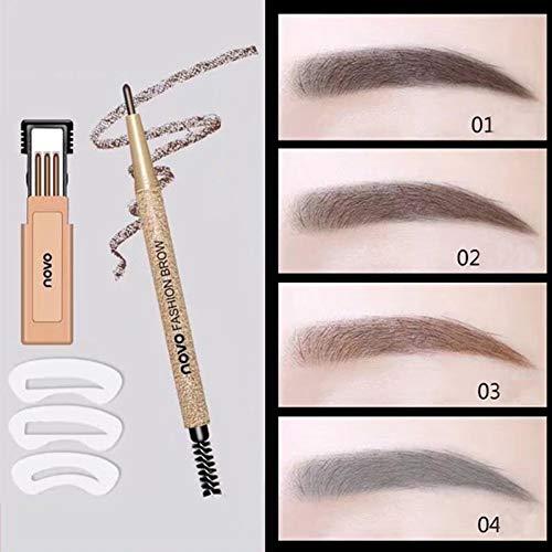 3D Waterproof Eyebrow Pencil, Waterproof Sweat-proof Smudge-proof Long Lasting Eyebrow Pencil Brow with Brush for Girls (Gray black)