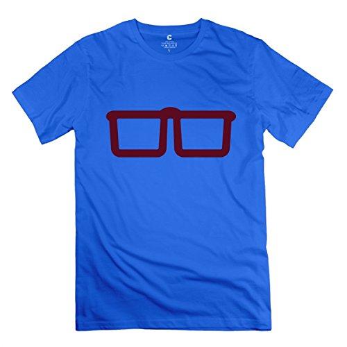 Nerd Glasses Royal Blue Adult Standard Weight T-Shirt For Men XL - University Gift Card Mall