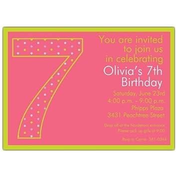 Amazon.com: 7th cumpleaños de niña lunares invitaciones ...