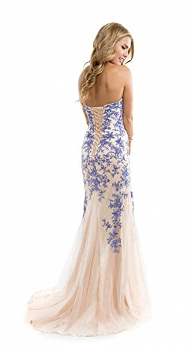 Scarlett Blue Evening Prom Ball Dress Strapless Lace up Gown Size 4-14 (4)