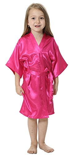 JOYTTON Kids' Satin Rayon Kimono Robe Bathrobe Nightgown (14,Fuchsia)