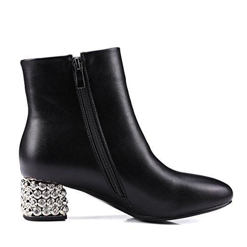 Toe Boot Moto Block Zipper Womens Western Heel Cowboy Chunky Round AIWEIYi Bootie Designer Black Ankle wFXZ1wq