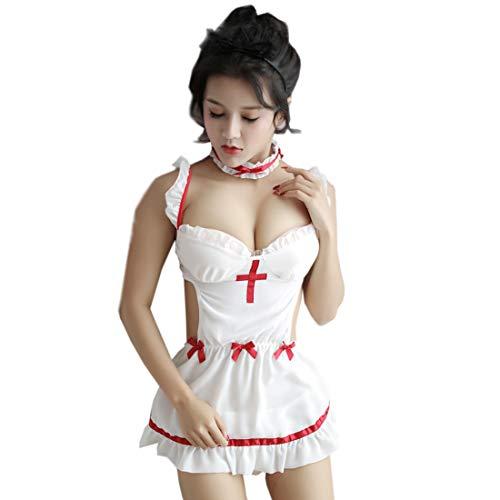 Caige Ladies Sexy Underwear, Fun Pajamas Cute Maid Maid Uniform Passion Set -