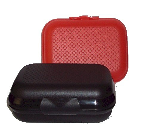 Tupperware Set 2 Packables Small Box Storage Container Oyster Black and Red