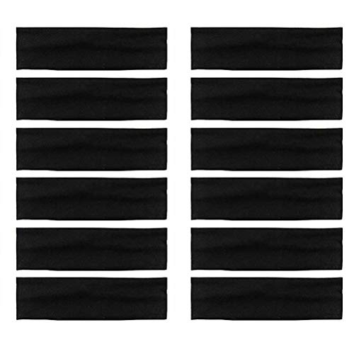 LIGONG 12PCS Stretch Elastic Yoga Cotton Headbands Wide Headband Sweatband for Running Yoga Fitness Fashion (Black)